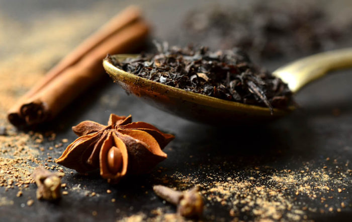 star anise black tea on spoon