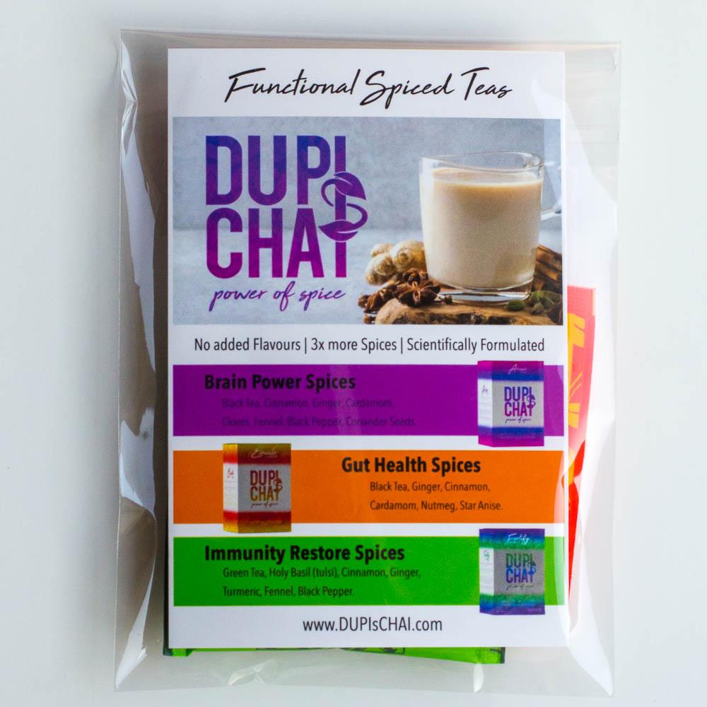 stocking stuffer DUPIsCHAI sampler
